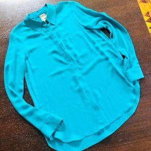 Haute Hippie Crepe Silk Turquoise Blouse Sz S